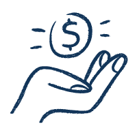 Icon of a hand holding a coin